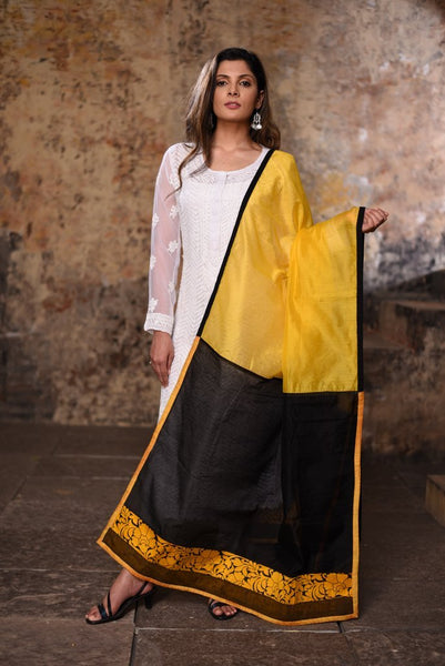 Yellow and black chanderi combination dupatta