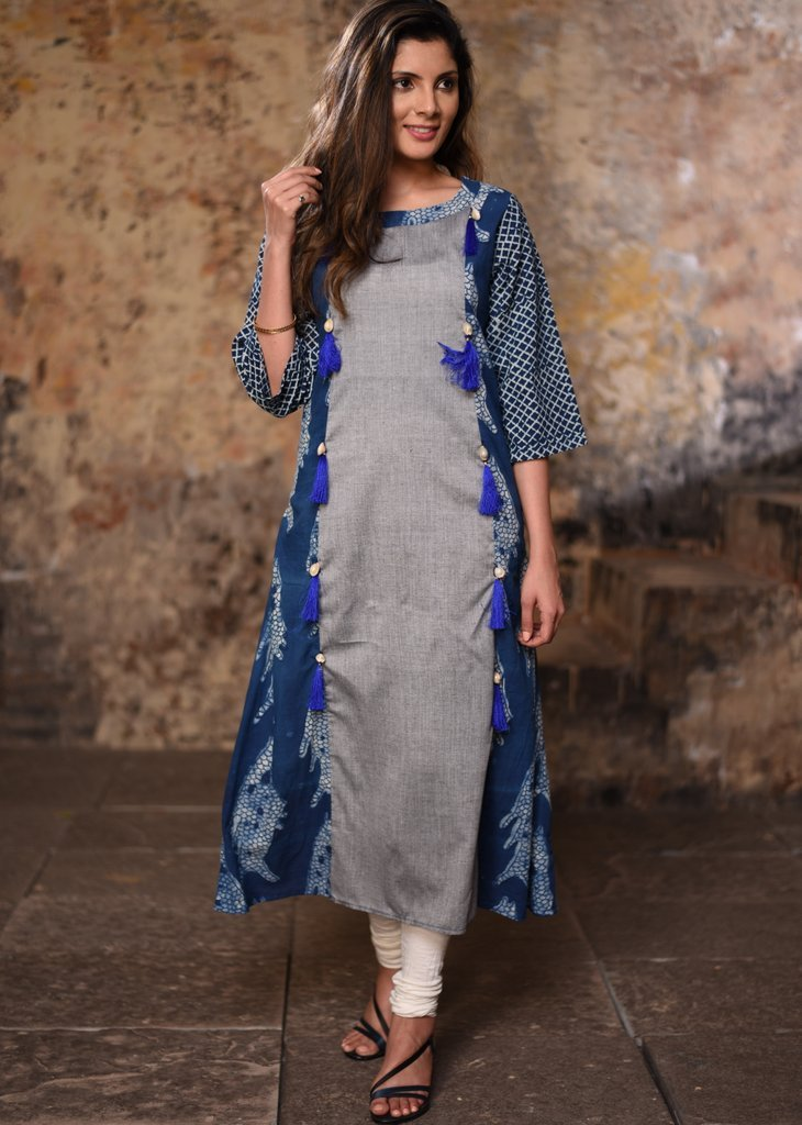 Grey &indigo combination exsluvice princess cut kurti