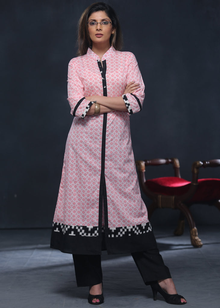 Printed soft cotton kurta with ikat border