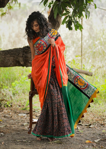 Exclusive orange pure raw silk & block printed ajrakh combination saree with hand painted madhubani border