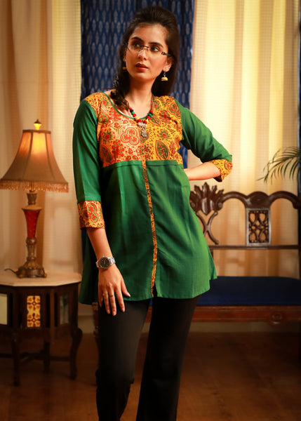 Ajrakh block printed mustard yoke matched with emerald green pure cotton top