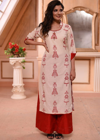 Exclusive printed cotton flex kurti with cotton silk palazzo