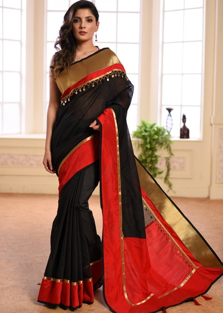 Black chanderi saree with zari border & exclusive coin tassels - Sujatra