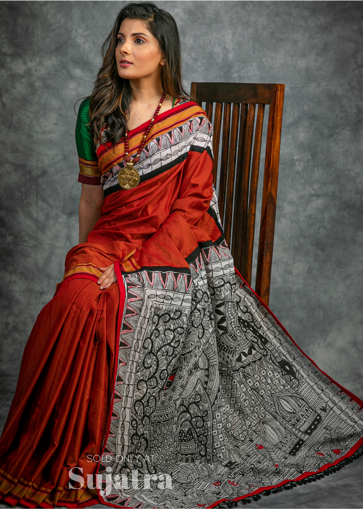 Exclusive Khun saree with intricate hand painted madhubani painted pallu & border