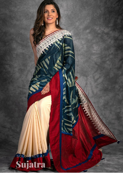 Exclusive modal silk Ajrakh block printed saree with lace border & cree satin pleats