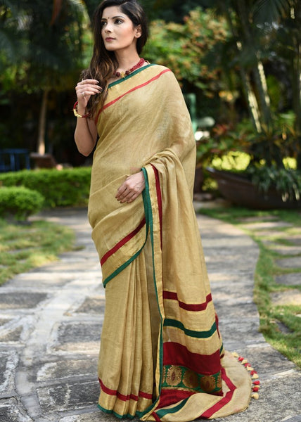 Pure linen saree with benarasi patch on pallu