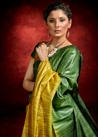Exclusive green & mustard combination pure raw silk tie & dye saree