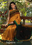 Mustard cotton silk saree with woolen pallu with kutchi embroidery - Sujatra