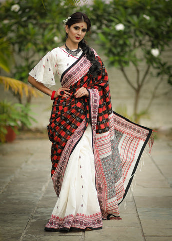Exclusive khadi cotton bengal handloom saree with ikat combination - same blouse pc as shown