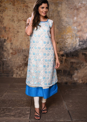 White & blue embroidered sleevless kurti
