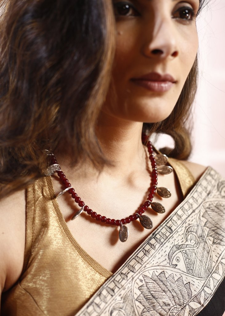 Burgundy round beads along wth german silver coin necklace - Sujatra