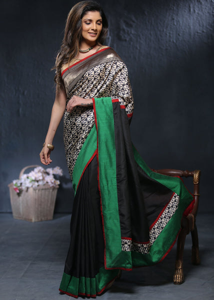 Printed geometric pure silk saree with black chanderi pleats cotton silk pallu - Sujatra