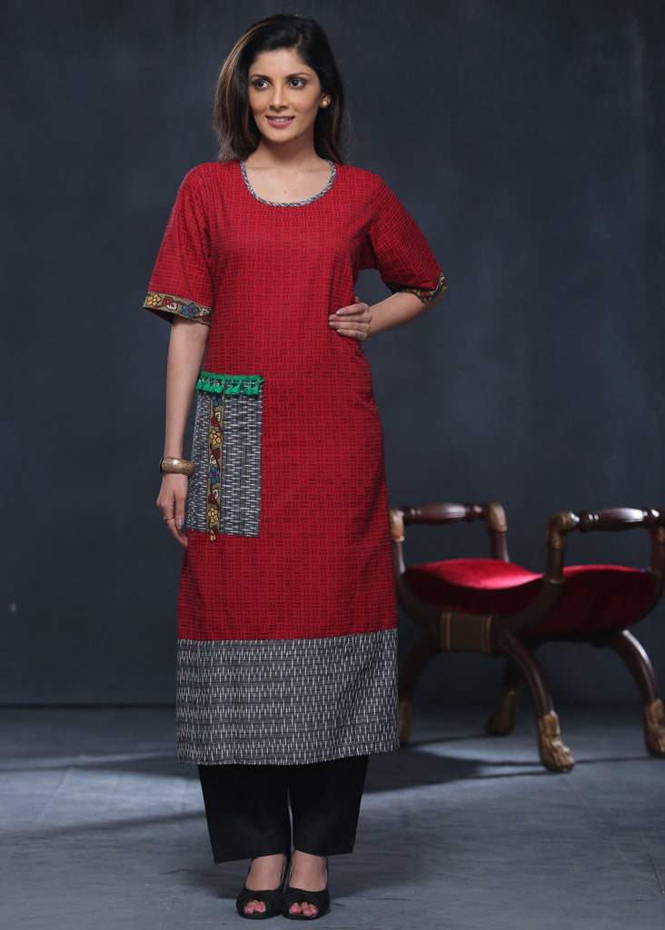 Red Handloom cotton kurta with ikat pocket & border