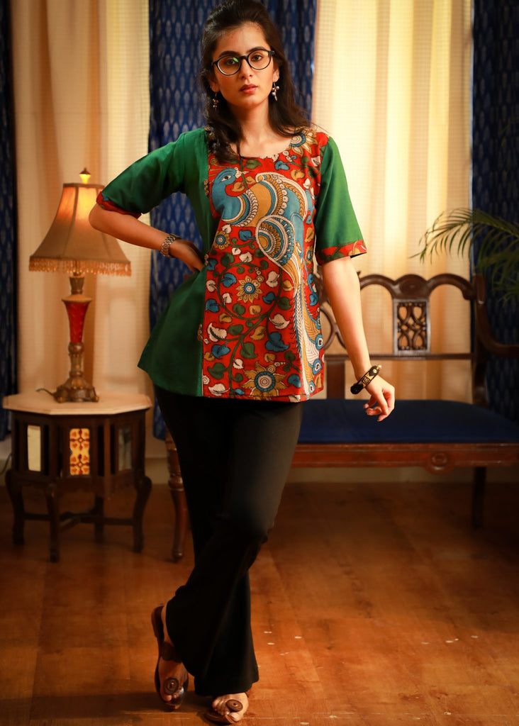 The elegant evergreen kalamkari painted quirky pure cotton top