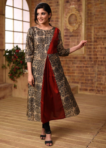 Exclusive printed jute cotton & maroon cotton silk combination kurti