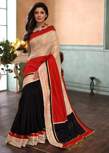 Exclusive benarasi designer saree with ikat pallu & black chanderi pleats