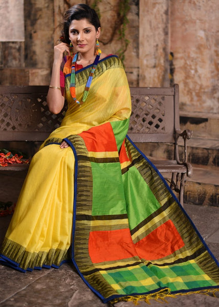 Yellow cotton silk temple border designer saree