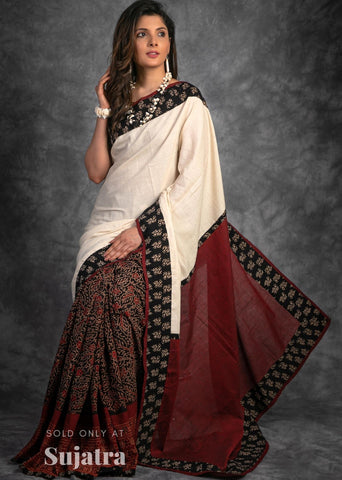 Block printed Ajrakh & offwhite combination handloom cotton saree