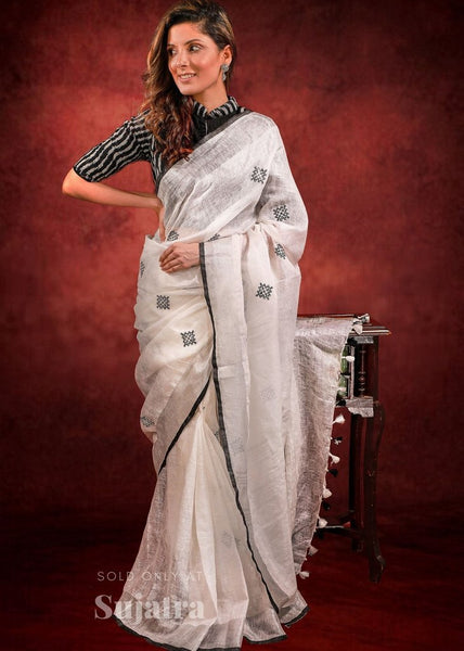 Pure linen embroidered saree
