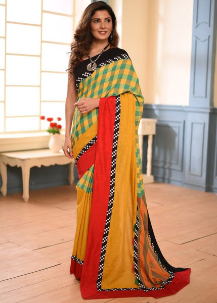 Exclusive gamcha cotton saree with handloom cotton combination - Sujatra