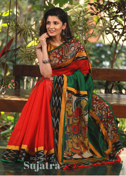 Red chanderi saree with hand painted kalamkari work & ikat border - Sujatra