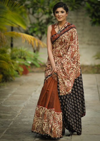 Exclusive kalamkari motifs & brown handloom cotton combination with Ajrakh pallu