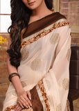 Soft & elegant benarasi work saree with golden pleats - Sujatra