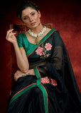 Black Chanderi saree with exclusive floral embroidery