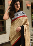 Pure ghicha silk saree with exclusive mantra printed border