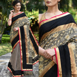 Exclusive woven benarasi chanderi saree with coffee chanderi pleats & zari border