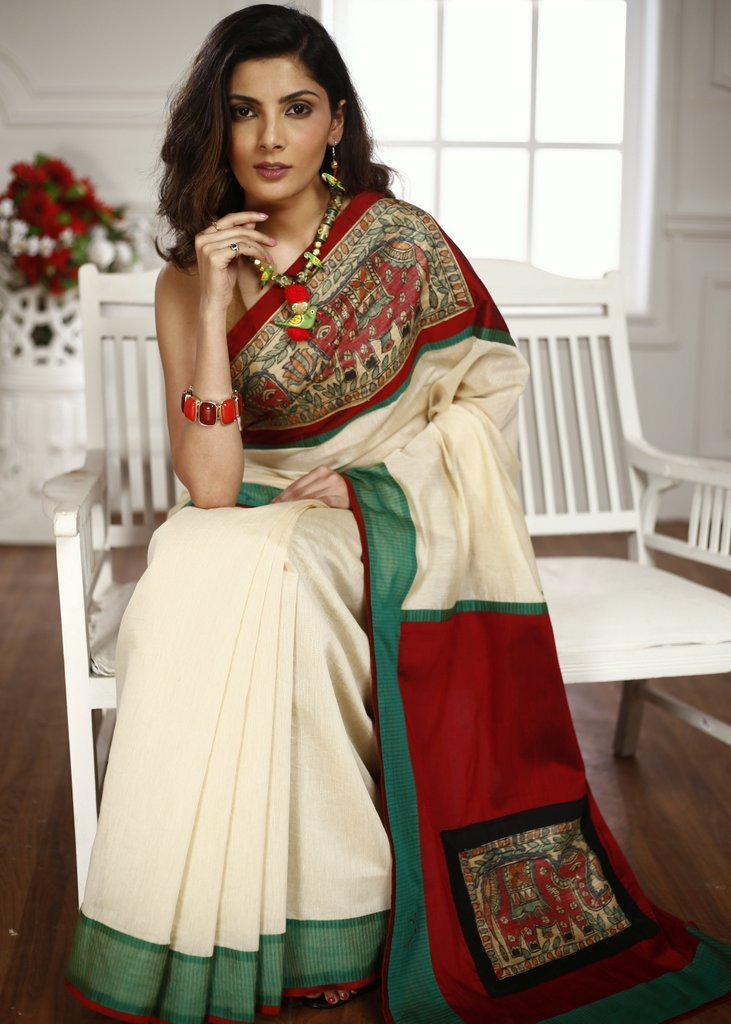 Exclusive hand painted madhubani work in front & pallu with beige chanderi combination saree - Sujatra