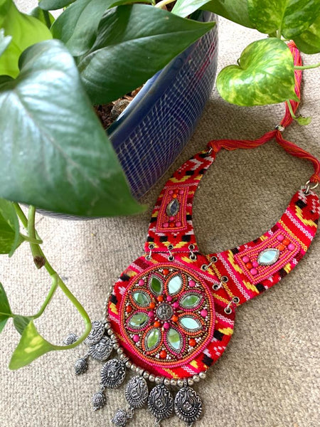 Exclusive ethnic banjara necklace with mirror work