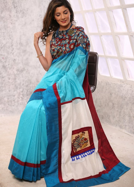 Blue chanderi saree with hand painted kalamkari in front & pallu