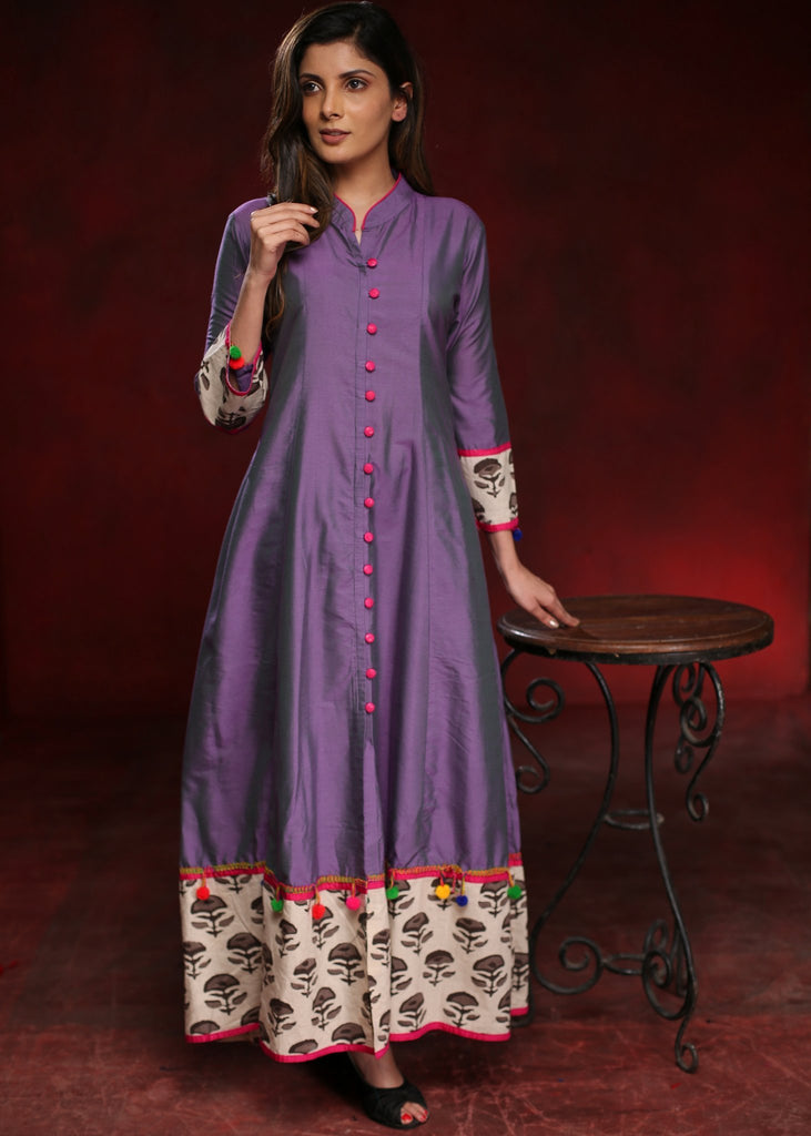 Purple wine A-line cotton silk kurta with grey flower motif block printed border - Sujatra