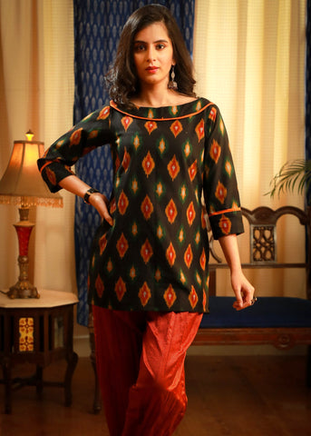 The evergreen elegant ikat pure cotton top wear