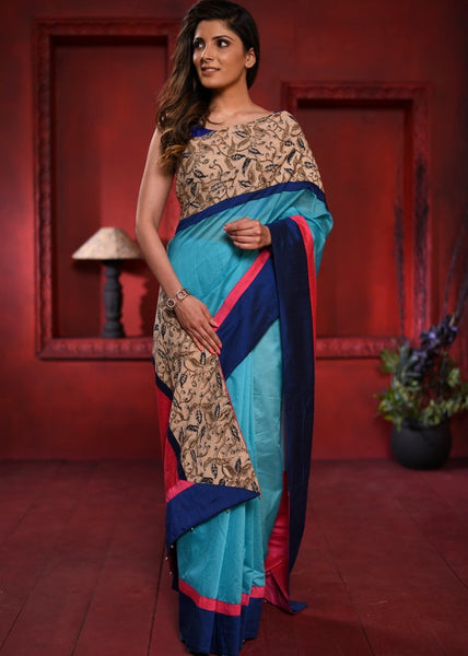 Blue chanderi saree with exclusive printed border