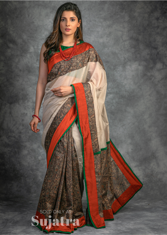 Exclusive block printed pure chanderi designer saree