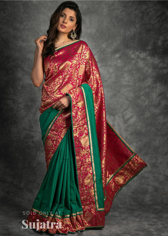 Exclusive benarasi & green cotton silk combination saree