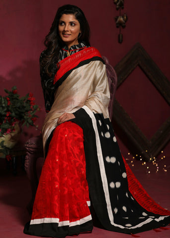Exclusive combination of Tussar silk and Dhakai cotton pleats with ikat pallu saree