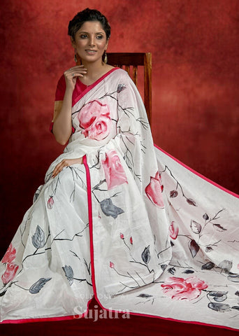 Exclusive hand painted saree with abstract floral painting