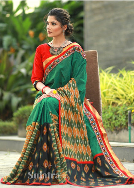 Exclusive ikat combination cotton saree with kutch mirror work