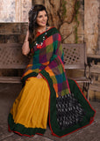 Exclusive chequred cotton saree with yellow handloom cotton pleats & ikat pallu