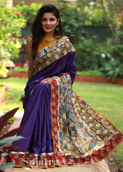 Violet semi silk saree with zari border & kalamkari painted pallu - Sujatra