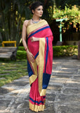 Pink Rayon cotton mix saree with zari border - Sujatra