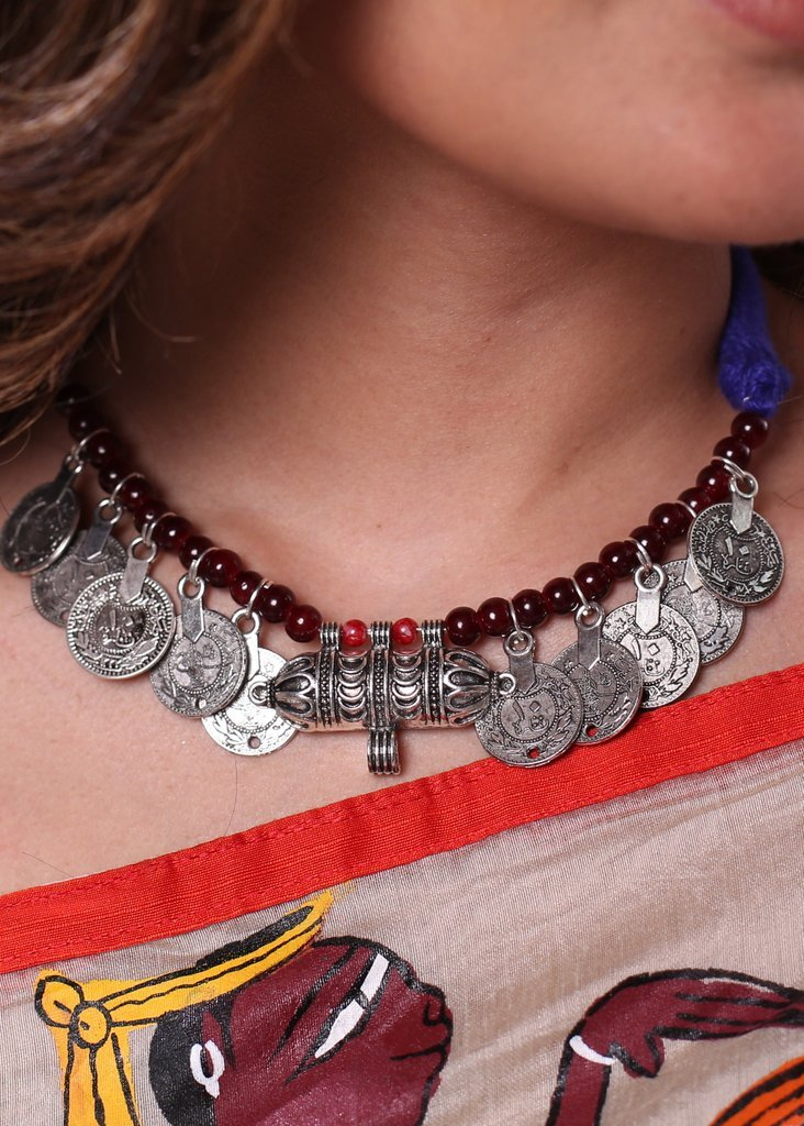 Oxidised tribal pendant with coin tassel neckpiece