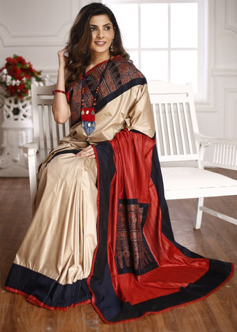 Ajrakh block print combination with beige semi silk & striped silk pallu saree