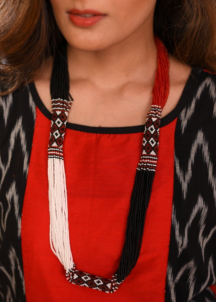 Exclusive red & white Seed beeds handcrafted necklace
