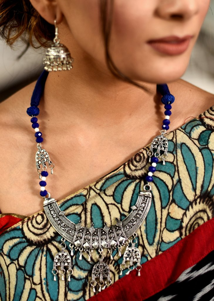 Ethnic german silver necklace set - Sujatra