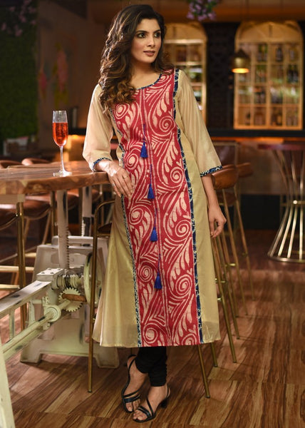 Beige chanderi kurti with hand batik work & blue tassels