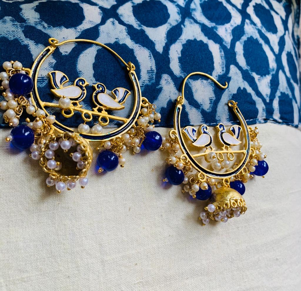 Exclusive Jaipuri work earing with small jhumka